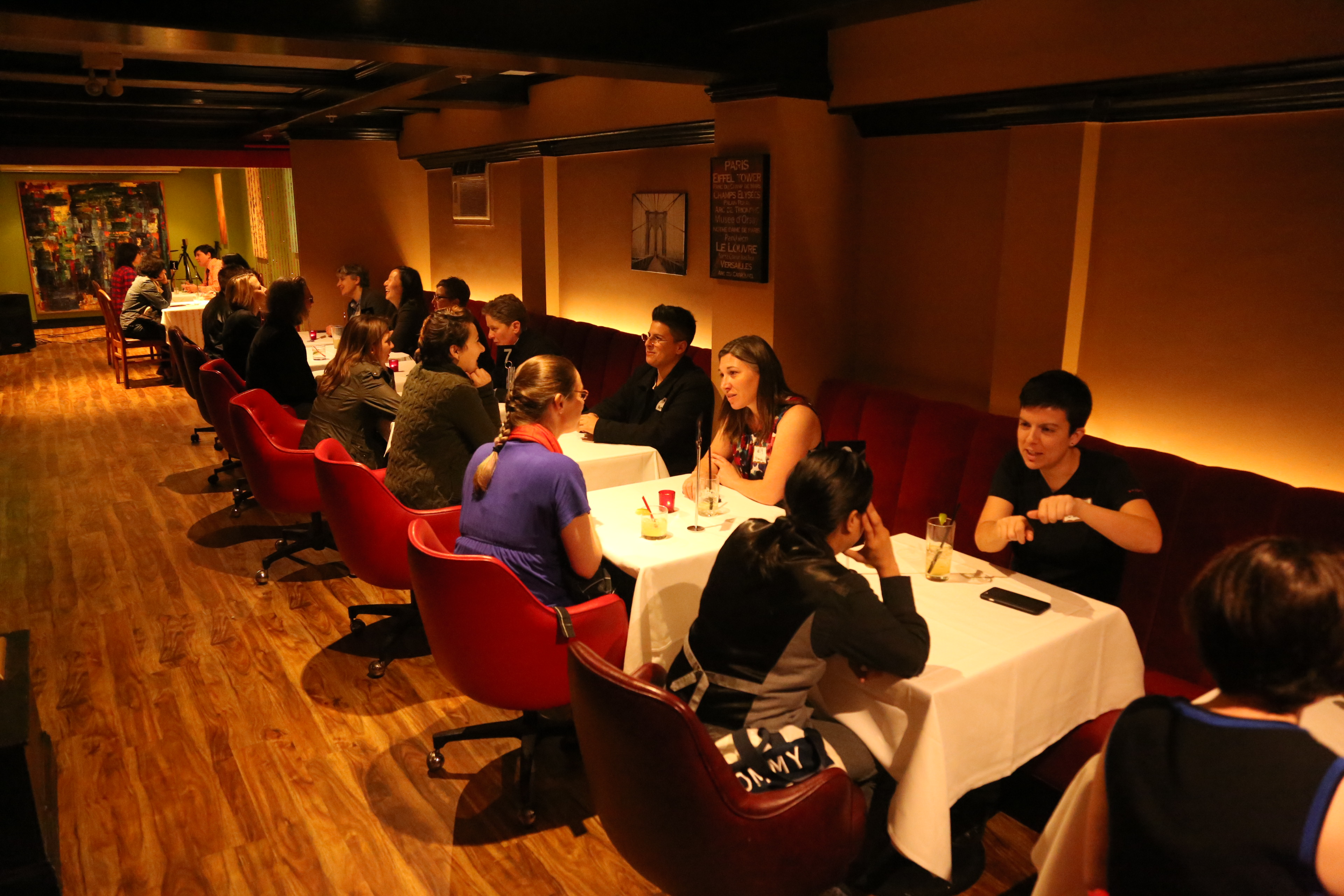 """Speed Daters in San Francisco meet each other during a """"Single Mingle"""" event."""
